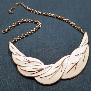 Vintage Enamel Necklace Gold and Cream Wings